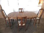 Lot: A4702 - Walnut Kitchen Table w/Leaf & 4 Chairs