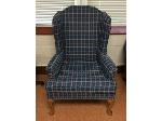Lot: 08 - Blue Wingback Chair