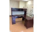Lot: 50 - Cherry Wood L-Shaped Desk w/Hutch