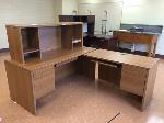 Lot: 51 - (2)Tan L-Shaped Desk w/Hutch