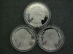 Lot: 641 - (3) LIBERTY .999 FINE SILVER ROUNDS