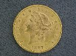 Lot: 3316 - 1897 $20 GOLD COIN - XF