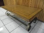 Lot: A5210 - Light Oak Wrought Iron Coffee Table