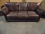 Lot: A5294 - Full Size Brown Leather Sofa