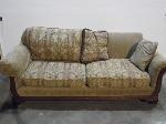 Lot: A5318 - Oak Maroon Sofa
