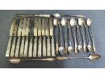 Lot: 1843 - (12) LUNCHEON KNIVES & (12) ICED TEASPOONS