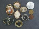 Lot: 1864 - (2) 10K LAPEL PIN/PENDANT CAMEOS