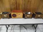 Lot: A5379 - Group of 4 Emerson Wooden Retro Radios