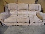Lot: A5397 - Light Tan Suede Reclining Sofa