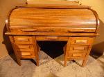 Lot: A5398 - Light Oak Traditional Roll Top Desk