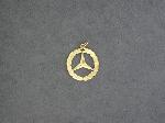 Lot: 2060 - 14K ROUND MERCEDES PENDANT