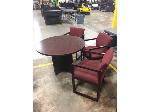 Lot: OF05 - ROUND TABLE W/3 RED CHAIRS