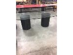 Lot: OF14 - GLASS OFFICE TABLE W/2 ROUND LEGS