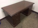 Lot: 47.PU - Wooden Executive Desk  And Small End Table