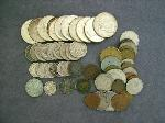 Lot: 2081 - HALVES, DIMES, NICKELS, PENNIES & FOREIGN COINS