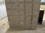 Lot: SP.36 - (3) Metal Lockers, Podium Bookshelf