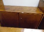 Lot: UV.73 - (2) Wood Cabinets, Wood Bookshelf, Records Holder, 10 Blue Chairs