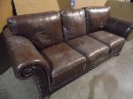 Lot: A5435 - Full Size Brown Leather Sofa