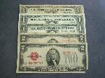 Lot: 2110 - RED SEAL $2 NOTES & BLUE SEAL $1 SILVER CERTS.