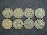 Lot: 2115 - (8) FRANKLIN HALF DOLLARS 1951-1963