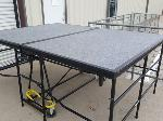 Lot: 1102 - Carpeted Folding Stage Section (Set of 3)
