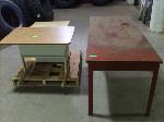 Lot: 163&164.TYLER - METAL WORK TABLE, (2) METAL PRINTER TABLES & (2) WOOD DESKS
