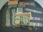 Lot: 2156 - 10K RING, SILVER CERTS., STAMPS & FOREIGN BILL