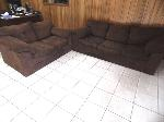 Lot: A5456 - Brown Suede Sofa Love Seat Set