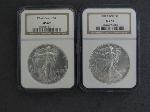 Lot: 157 - (2) 1994 SILVER EAGLE DOLLARS NGC MS69