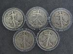 Lot: 201 - (5) 1941-1947 WALKING LIBERTY HALVES