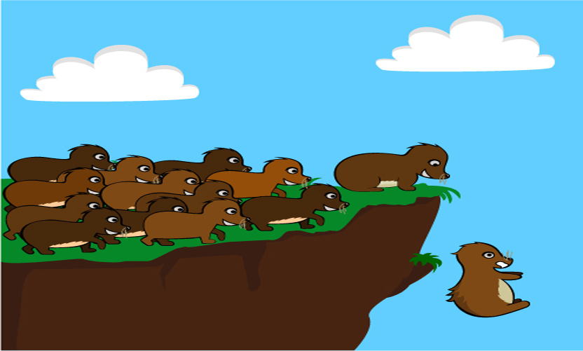Lemmings over cliff