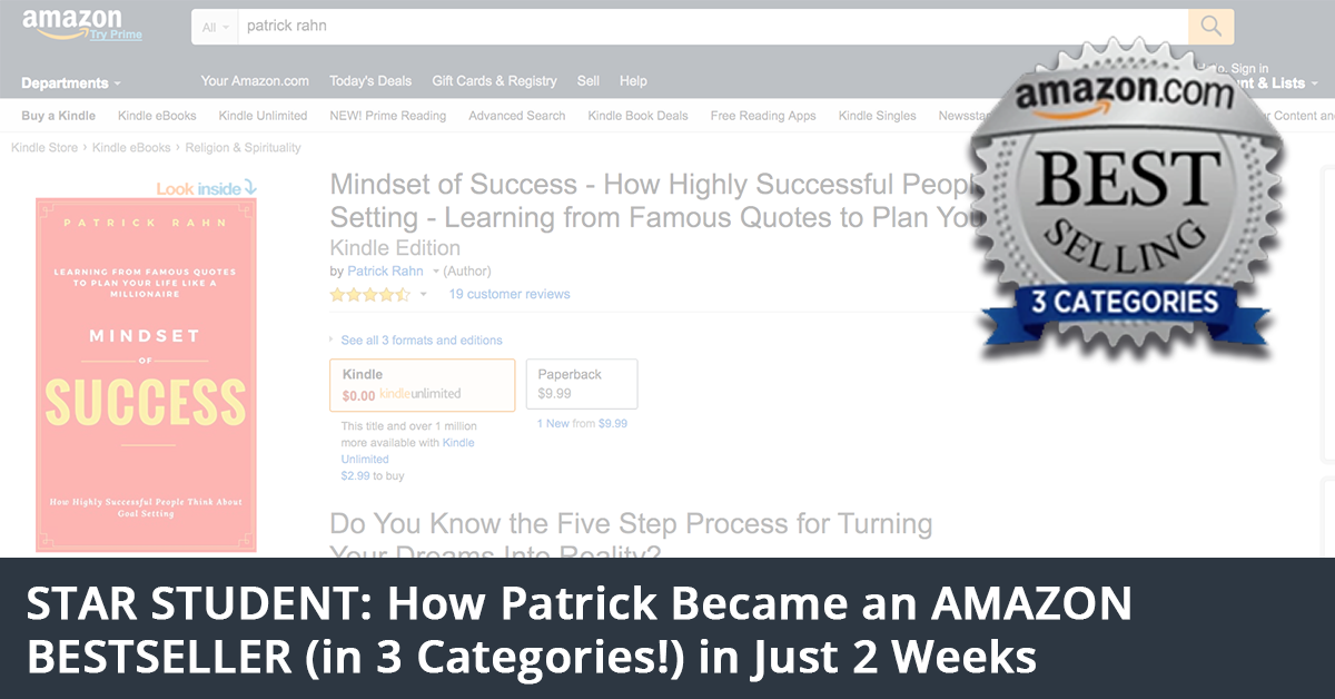 Star Student Patrick Rahn Amazon Bestseller in 3 Categories