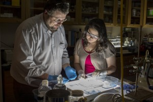 An LVC student completes an experiment with her professor