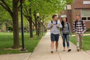 Students walk through the quad
