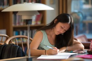 An LVC student studies in the Vernon & Doris Bishop Library