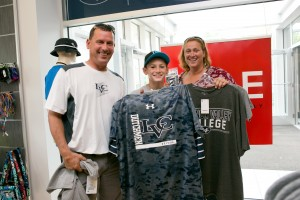 An LVC family picks out some new gear at the College Store