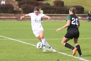 Sammy Bost controls the ball in an LVC soccer game