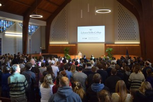 Students gather in Frederic K. Miller Chapel for the 4th Annual Symposium on Inclusive Excellence