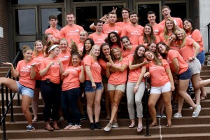 Valley Ambassadors pose for a funny picture on LVC's campus