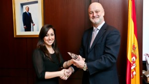 Ashley Ferrari '13, Study in Spain Student Ambassador of the Year, accepted her award at the Spanish Embassy in Washington, D.C.