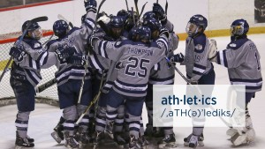Men's Ice Hockey celebrate after s home win