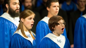 Faith Brown and Jennifer Summy perform with LVC's College Choir