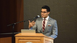 A guest gives a speech at the Inclusive Excellence Symposium