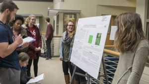 Students display and present research findings during the annual Psychology Poster session in Synodinos Commons, Clyde A. Lynch '18 Memorial Hall