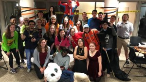 International students celebrate Halloween in the United States with a costume party