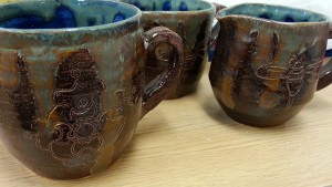 Pieces of pottery created by Art major Candice Heishman