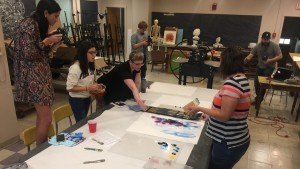 Art and digital communications students collaborate on a project at Lebanon Valley College