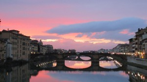 The sun sets in Florence, Italy