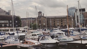 Study Abroad students visit a dock in London, England