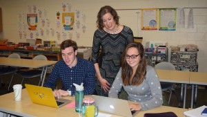 Jennifer Kuntz works with students in Lebanon Valley College's education program
